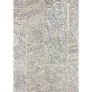 Atlas Papier peint aspect pierre carrelage 24C-1605-3 papier peint intissé texturé à l'aspect de pierre et des accents métalliques beige ivoire blanc argent 7,035 m2