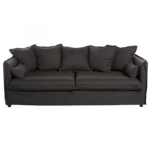 Canapé 3 places odilon en lin l 210 x l 104 x h 78 cm gris foncé