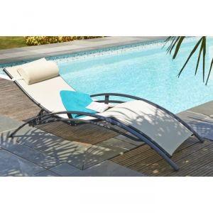 DCB Garden CL76 - Bain de soleil multipositions en aluminium et textilène