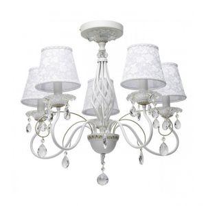 MW-Light Matt white+gold color/metal crystal/glass lampshade 5*40W E14 - MW-HANDEL