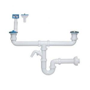 TYC Siphon tubulaire pour évier deux bacs 70mm, trop plein rectangulaire, verticale/ horiz,sortie machine à laver / lave-vaisselle