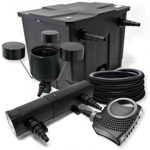 wiltec Kit de Filtration avec Bio Filtre 12000l, 36W UV Stérilisateur, 80W Pompe, 25m Tuyau et Skimmer