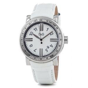 Dolce & Gabbana DW0680 - Montre Femme Quartz Analogique avec cadran blanc et bracelet cuir blanc