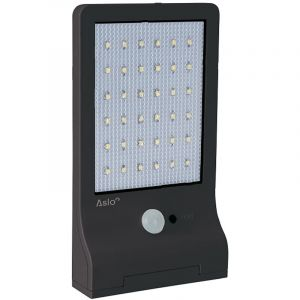 Lampe LED Solaire exterieure noir avec detecteur de mouvement ASLO - 3W - 370 lumens - 6000K