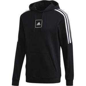 Adidas Sweat à capuche noir bandes blanches homme - Taille - XL - Couleur Noir