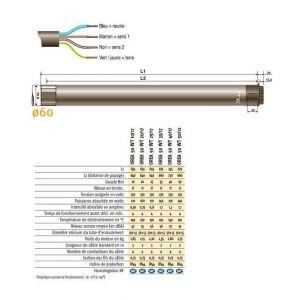 Somfy Moteur filaire 230V/50Hz pour stores cassettes et coffres, OREA 60 WT100/12 - 1184082