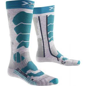 X-Socks Ski Control 2.0 Lady Chaussettes Femme, Medium Grey Melange/Turquoise, FR : S (Taille Fabricant : 35-36)
