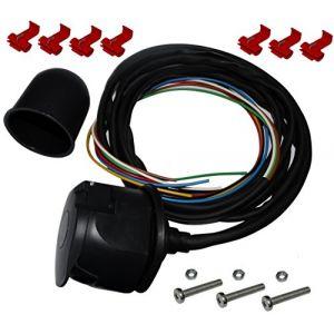 Aerzetix Kit faisceau prise fiche de remorque câble 2m câblage attelage 7pin 12V C12385 cache boule rotule laiton