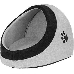 TecTake Panier Dôme Niche pour Chat ou Chien avec Coussin Confortable Gris Taille M