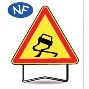 Taliaplast 522003 - Panneau signalisation danger chaussée glissante ak4 t1 1000mm