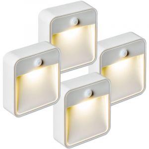 TecTake Lampe LED, Lampe murale, Lampe Présence, Veilleuse, Sans Fil, avec capteur détecteur de mouvement LED Par 4