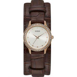 Guess : Montre W1150L2 - CHELSEA Boitier Acier Doré rose Bracelet Cuir Marron Cadran Blanc Femme