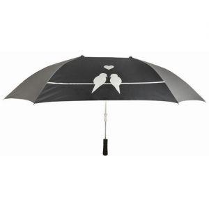 Esschert design Parapluie double pour les amoureux Soie pongée, Aluminium, Plastique à renfort de verre et Fer