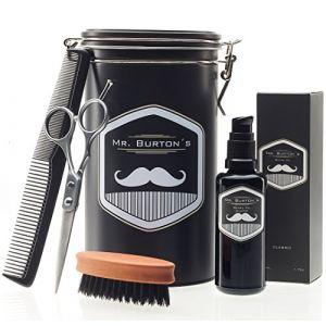 Mr. Burton's Set de soins pour barbe : huile Fresh, ciseaux, peigne et brosse