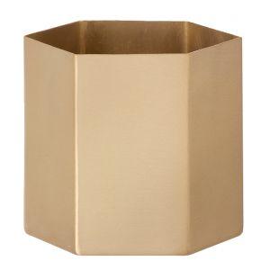 Ferm Living Pot de fleurs Hexagon XL / Ø 18 x H 16 cm doré en métal