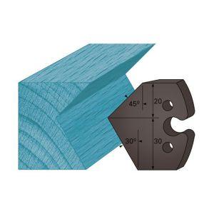 Diamwood Platinum Jeu de 2 contre-fers profilés Ht. 48 x 5,3 mm chanfrein 45 et 30° A272 pour porte-outils de toupie