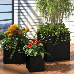 VidaXL Lot de 3 Pots fleurs Carré en Rotin Noir