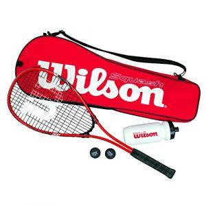 Wilson WRT913100 Kit de Squash, Starter Squash Kit, 1 Raquette Impact Pro 300, 2 Balles, 1 Bouteille d'Eau, Rouge/Noir
