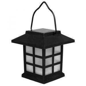 """Solarline Borne solaire lanterne - H 9 cm - Noir - Borne solaire lanterne - 1 LED ambrée """"effet bougie"""" - Interrupteur marche / arrêt - Noir"""""""