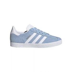 Adidas ORIGINALS Gazelle J Ciel Clair/Or Métallique/Blanc Suède EU 36⅔