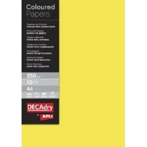 DECAdry 12180 - Etui de 10 feuilles de papier couleur A4, 250 g/m², jaune vif