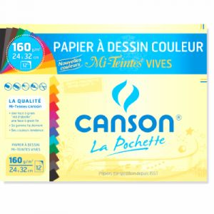Canson Papier à dessin couleur, mi teintes vives, 24x32cm, 160gr - Le lot de 12 feuilles
