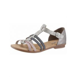 Rieker 64288 Women Gladiator, Sandales Femme - Blanc (ice/rose/azur/grey/80), 39 EU