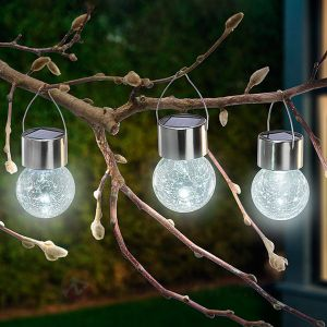 Esotec Lampe décorative solaire Crackle Ball Ampoule LED transparent