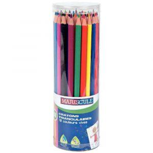 Majuscule Pot de 48 crayons de couleur triangulaires pointe moyenne assortis