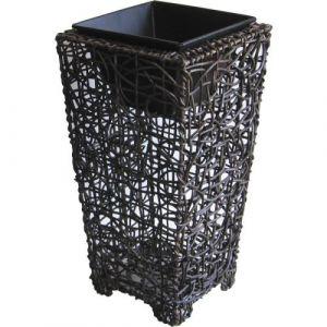 Aubry Gaspard Vase cache pot rotin et métal -