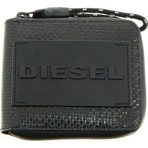 Diesel Portefeuille italien zippé à deux volets Hiresh noir