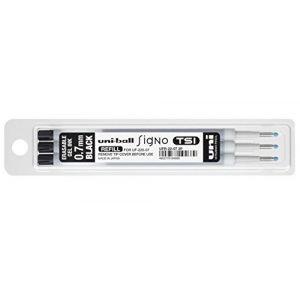 Uni Ball Recharge pour stylo effaçable Uniball TSI noir pointe moyenne 0,7 mm - Pochette de 3