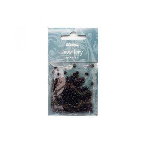 Panduro Perles noir - 150 pieces - 4 mm - Perles décoratives, en acrylique - Trou 0,8 mm.