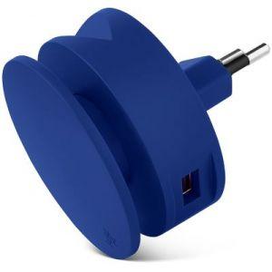Usbepower Chargeur secteur 2 USB +enrouleur cable + support - Bleu