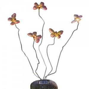 Konstsmide lampe solaire ASSISI 5 papillons sur un pied
