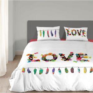 Good Morning Flower Love - Housse de couette et taie 100% coton (140 x 200 cm)