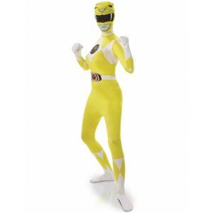 Déguisement seconde peau Power Rangers Jaune femme Taille S