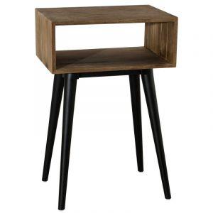 Bout de canapé industriel en bois teck L 50 cm