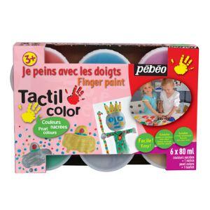Pebeo Tactilcolor : Gouache aux doigts nacrée (6 x 80 ml)