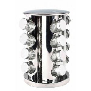 Black & White Etagère rotative avec 16 pots à épices