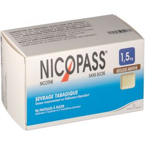 Pierre Fabre Nicopass Réglisse Menthe s/s 1,5 mg - 96 Pastilles