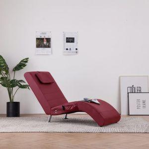 VidaXL Chaise longue de massage avec oreiller Rouge bordeaux Similicuir