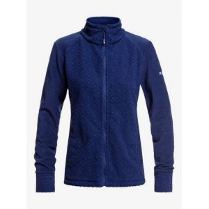 Roxy Surface Through Veste zippée Femme, medieval blue losange jacquard M Vestes en polaire
