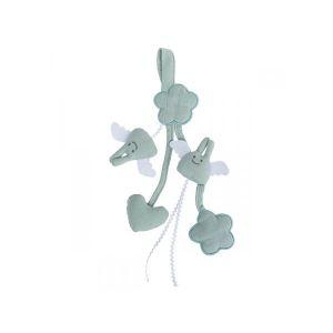 Trousselier Hochet berceau porte tétine 20cm - coton bio celadon & bleu denim