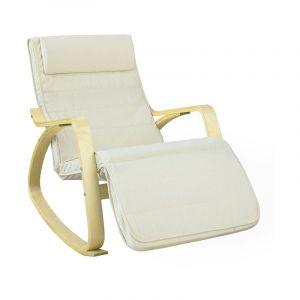 Sobuy Fauteuil à Bascule Avec Repose-pied Réglable Design Rocking Chair Fauteuil Relax Bouleau Flexible (Beige) FST16-W