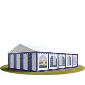 Intent24 TOOLPORT Tente Barnum de Réception 5x10 m PREMIUM Bâches Amovibles PVC 500 g/m² bleu-blanc + Cadre de Sol Jardin.FR