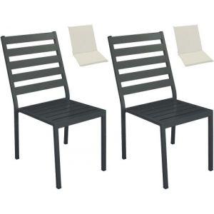 Hévéa Chaises de jardin en aluminium Angussa (Lot de 2)