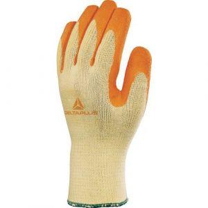 Delta Plus Gant tricot polyester coton paume enduite latex orange taille 09 : delta + VE730OR09