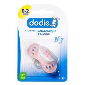 Dodie 5411067 - Sucette nouveau-né en silicone N°25 (0-2 mois)
