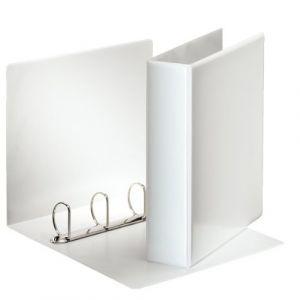 Esselte Classeur 4 Anneaux Personnalisable, Couverture Plastique avec Effet Simili Cuir, Diamètre Anneaux 50mm, A4, Blanc, 49705